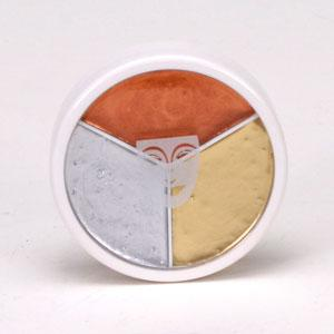 Kryolan Silver, Gold and Copper Metallic Makeup Tri-Wheel - Make It Up Costumes