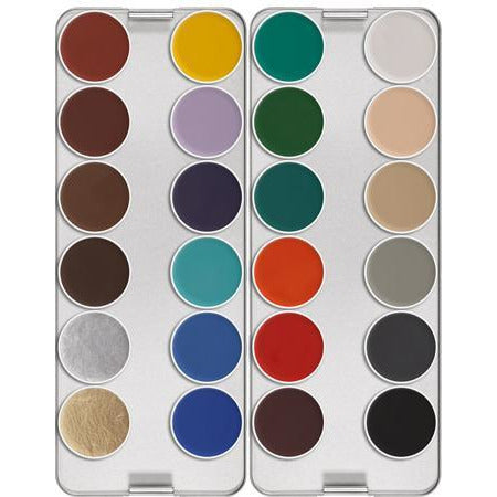 Kryolan AquaColor Face and Body Paint Makeup - 24 Color Palette - Make It Up Costumes