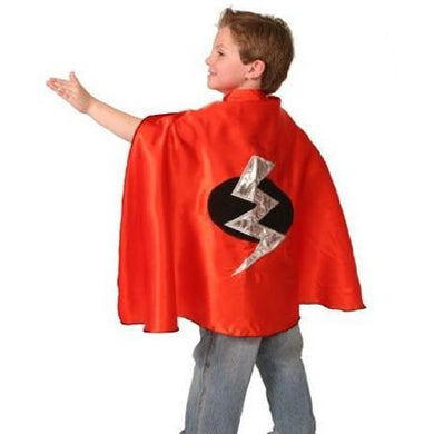 Red Child Superhero Cape with Lightning Bolt - Make It Up Costumes