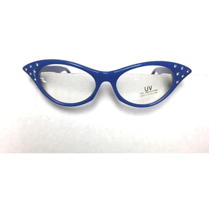 Blue Frame Cat Eye Glasses - Make It Up Costumes