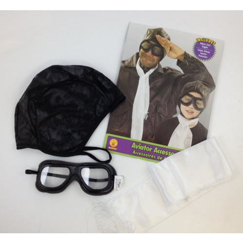 Aviator Costume Accessories Kit with Scarf, Helmet and Goggles - Make It Up Costumes