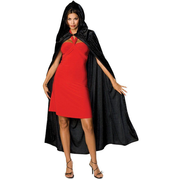 Long Black Velvet Cape with Hood - Make It Up Costumes