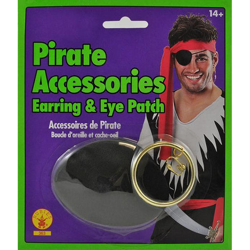 Pirate Eye Patch & Hoop Earring Set - Make It Up Costumes
