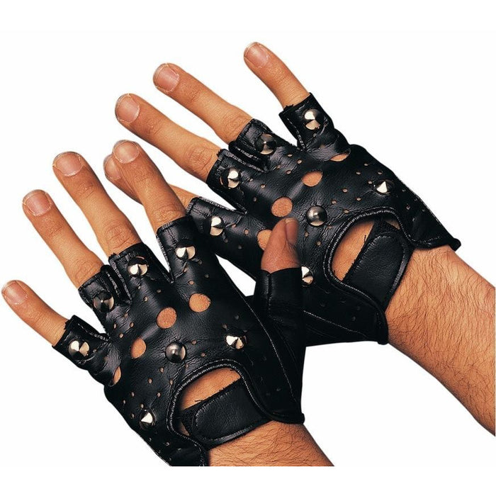 Fingerless Studded Punk Gloves - Make It Up Costumes