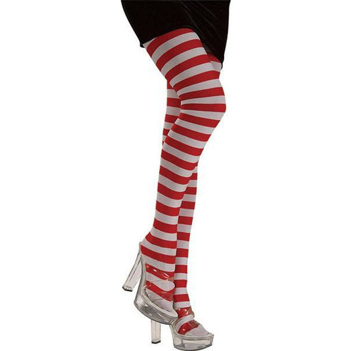 Ladies Red and White Striped Tights - Make It Up Costumes