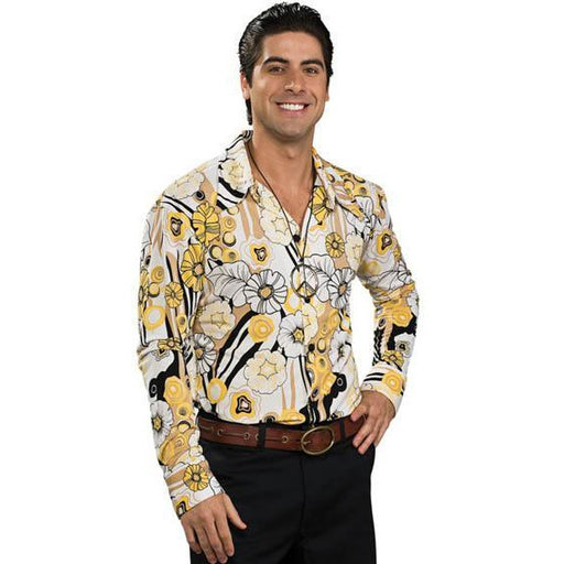 Groovy Yellow Print Shirt for Men - Make It Up Costumes