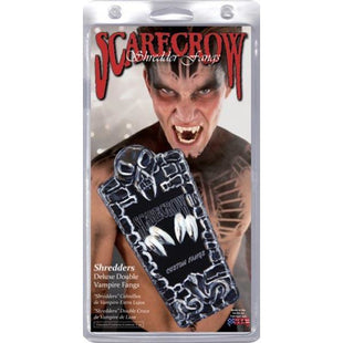 Scarecrow Double Vampire Fangs - Chrome Shredders - Make It Up Costumes