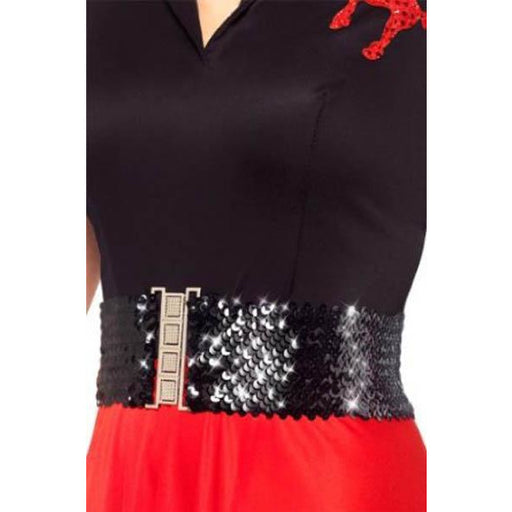 Black Sequin Stretch Belt - Make It Up Costumes