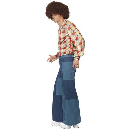Men's Patchwork Bell Bottom Jeans - Make It Up Costumes