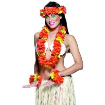Hawaiian Lei Set with Headband, Bracelets and Necklace - Make It Up Costumes
