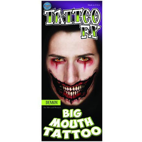 Demon Big Mouth Temporary Tattoo - Make It Up Costumes