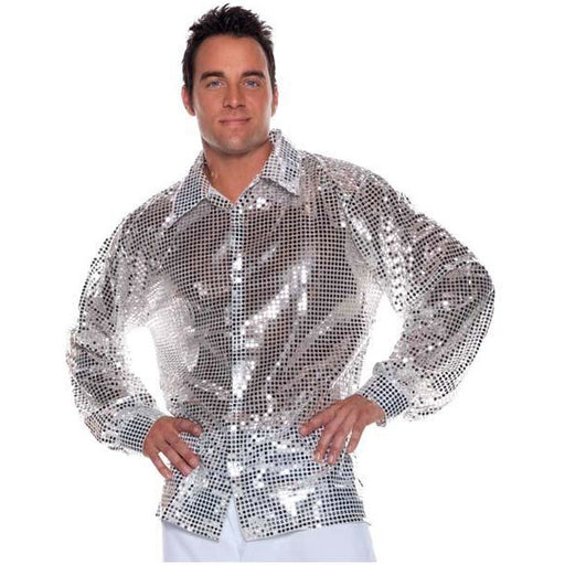 Men's Silver Disco Shirt - Make It Up Costumes