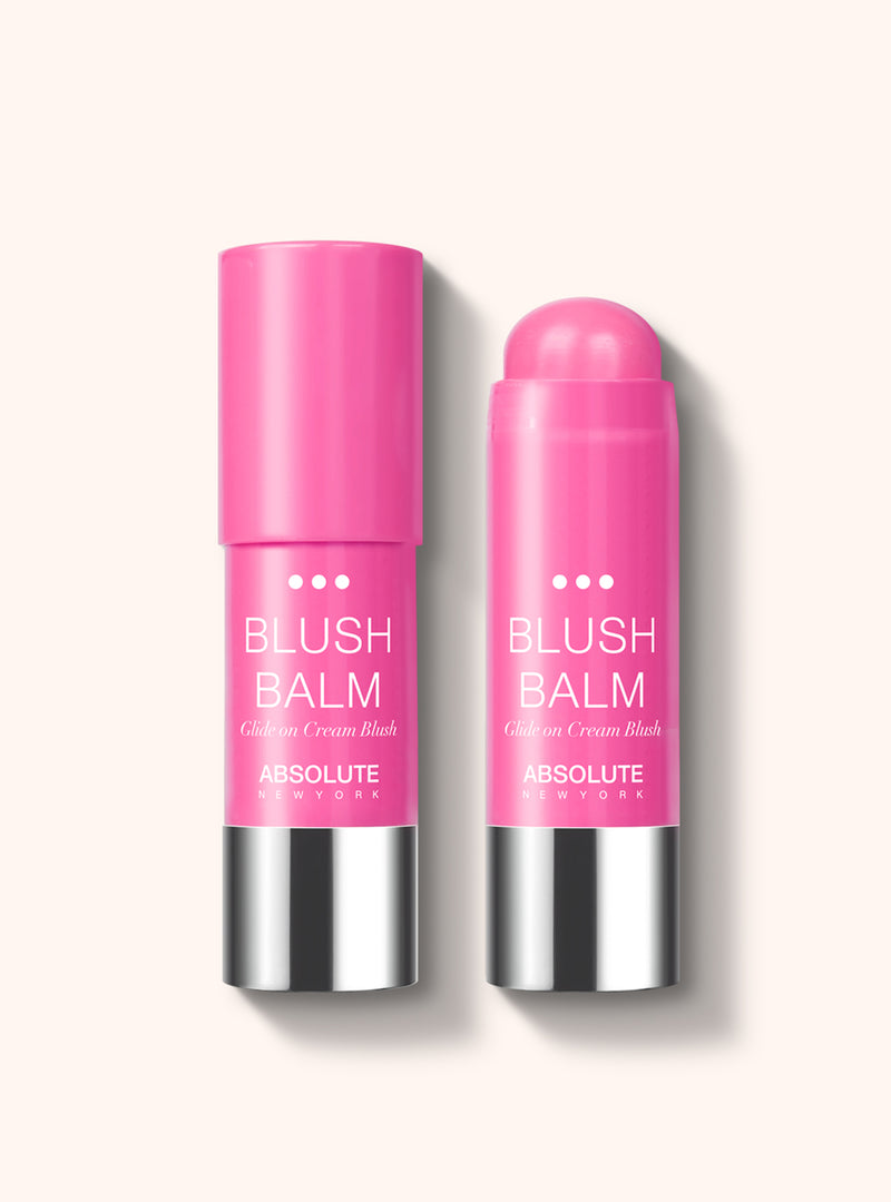 Blush Balm (GNO) by Absolute New York - retractable, cream stick blush in vibrant strawberry pink.