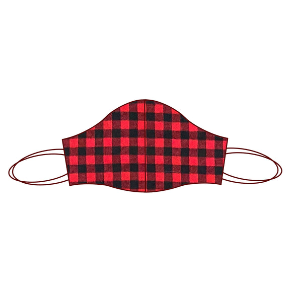 Gingham inspired Fabric Face Mask | Gingham Red and Black 2