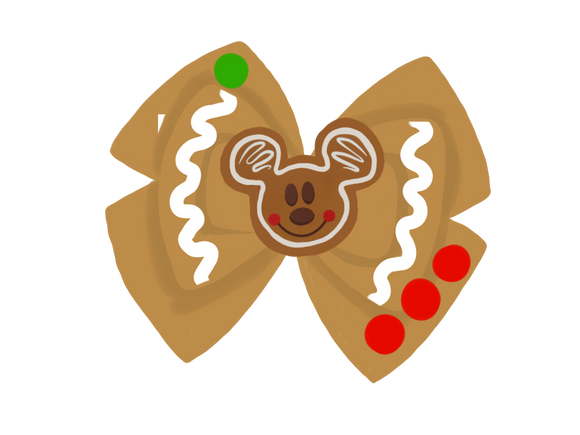 Gingerbread inspired Character Hair Bow | Swap your Bow Ears | Christmas | MagicBand Bow | Holiday | Mickey inspired Mouse Ears