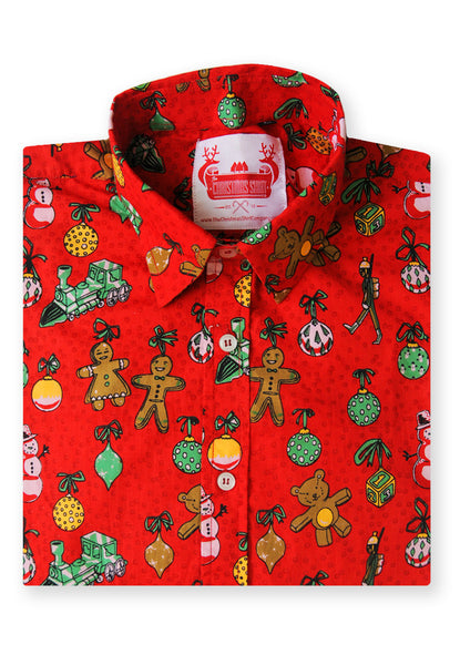 Christmas shirt folded gingerbread party red Christmas Shirt Xmas Patterned Funky christmas jumpers mens shirt xmas sweater longsleeve xmas top mens unisex womens