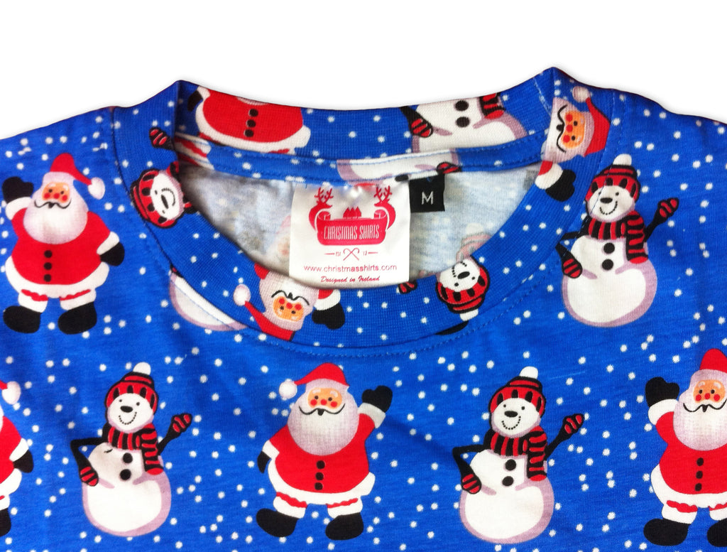 santa and snowman christmas t shirt from the christmas shirt company 100 cotton - Santa And Snowman