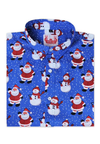 blue Christmas shirt with Santa and snowmen
