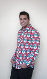 Red Christmas Shirt with penguins, much cooler than a Christmas jumper.