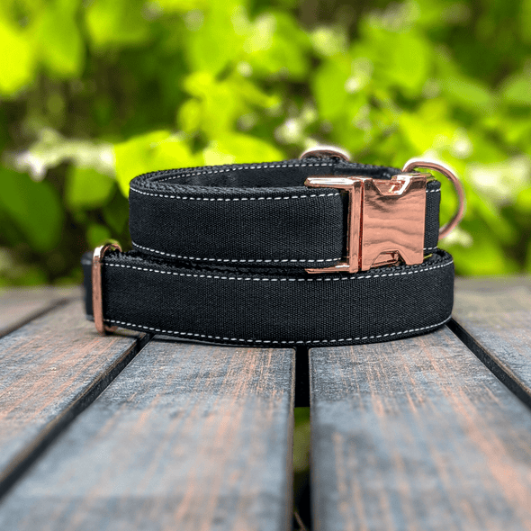 Onyx Dog Collar and Leash Set Rose Gold Collection