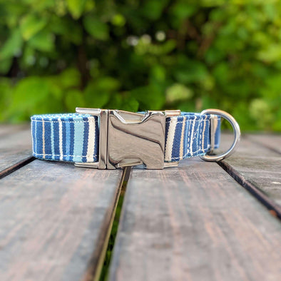 Drip Blue Dog Collar Silver Collection