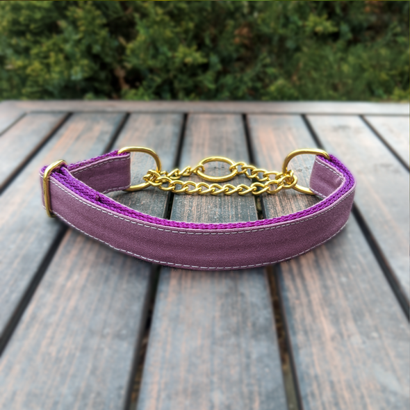 Amethyst Martingale Dog Collar and Leash Set Gold Collection