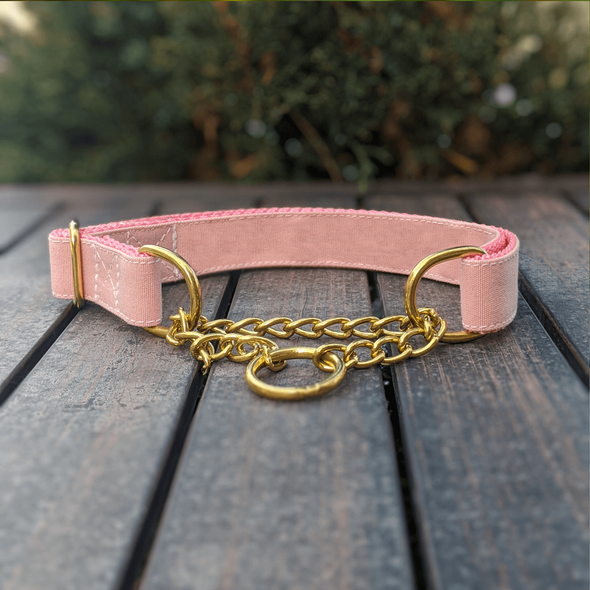 Pink Champagne Martingale Dog Collar and Leash Set Gold Collection