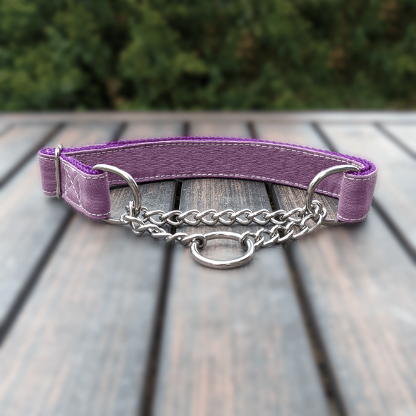 Amethyst Martingale Dog Collar and Leash Set Silver Collection
