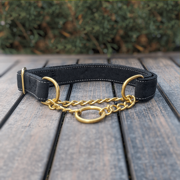 Onyx Martingale Dog Collar and Leash Set Gold Collection
