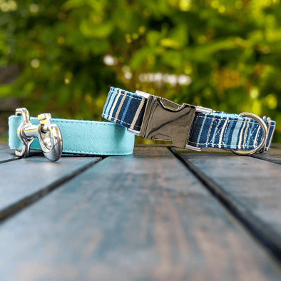 Drip Blue Dog Collar and Leash Set Silver Collection
