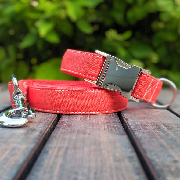 Fuego Red Dog Collar and Leash Set Silver Collection