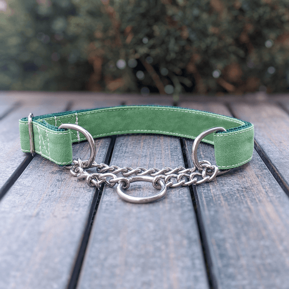 Evergreen Martingale Dog Collar Silver Collection