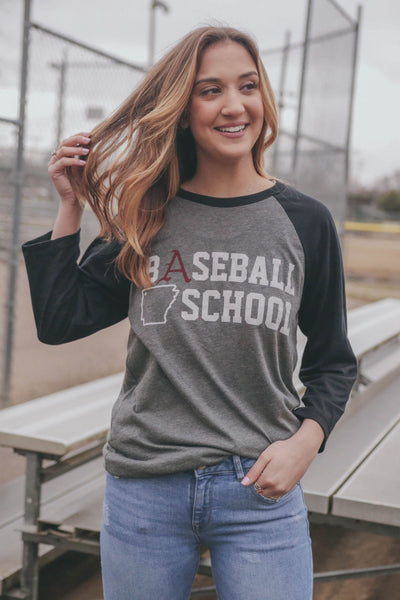 Baseball School 3/4 Sleeve Black/Grey