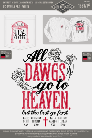 REORDER3 USC Tri Delta - All Dawgs Go To Heaven (Long Sleeve)