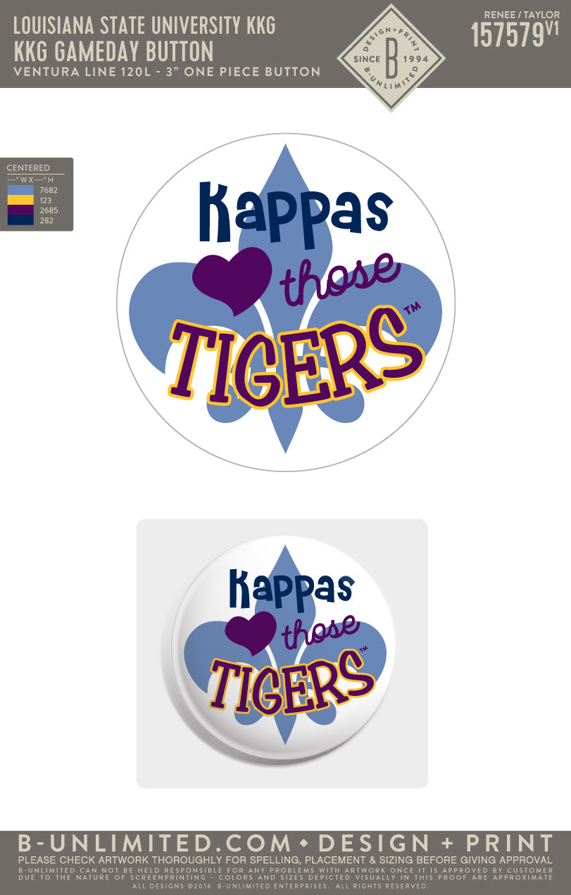 LSU KKG - KKG Gameday Button (White)