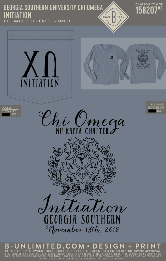 Georgia Southern Chi Omega - Initiation (Comfort Colors)