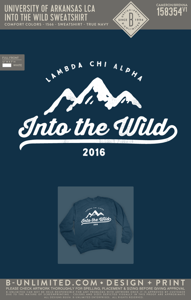 UofA LCA - Into the Wild Sweatshirt (True Navy)