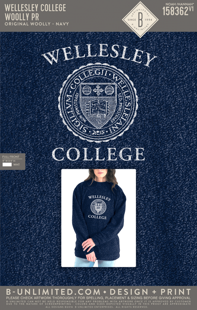 Reorder - Wellesley College - Woolly PR (Navy)