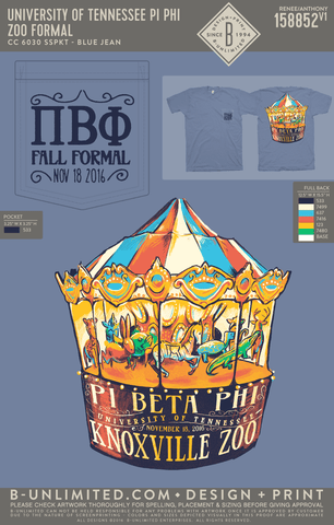 Tennessee Pi Phi - Zoo Formal (Short Sleeve - BLUE JEAN)
