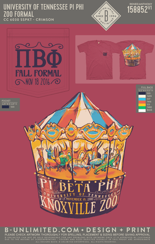 Tennessee Pi Phi - Zoo Formal (Short Sleeve - CRIMSON)