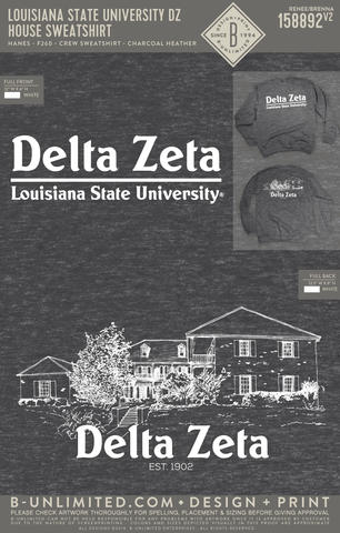 LSU DZ - House Sweatshirt (Hanes CHARCOAL HEATHER)