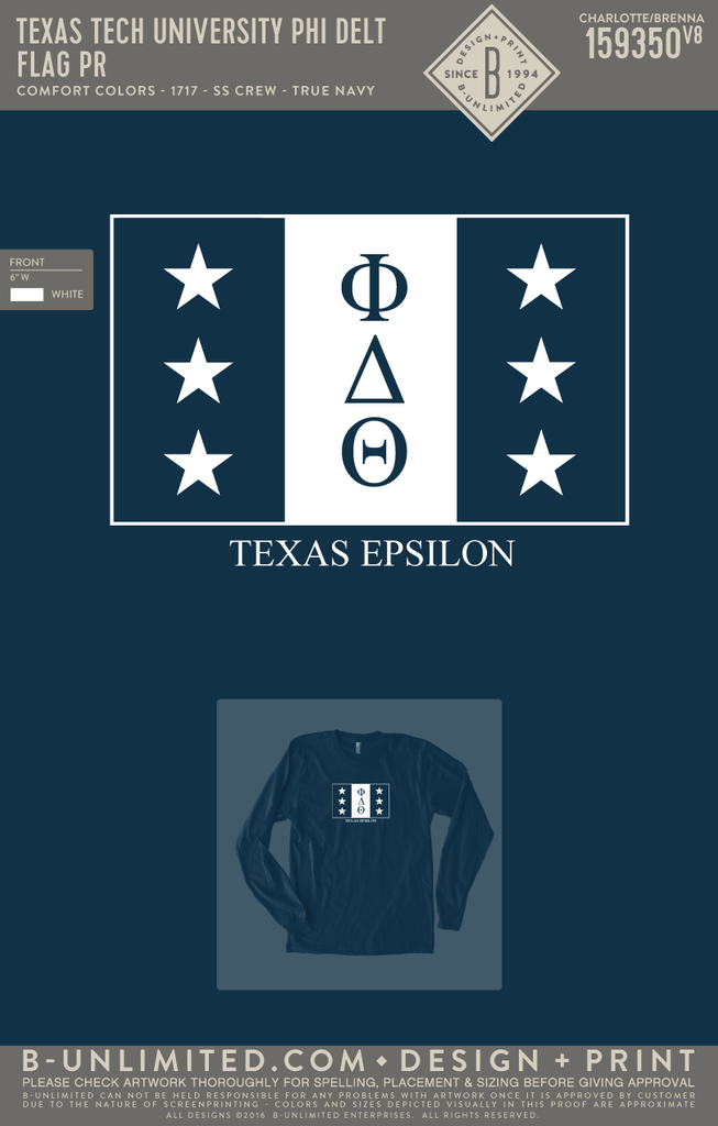 Texas Tech Phi Delt - Flag PR (True Navy)