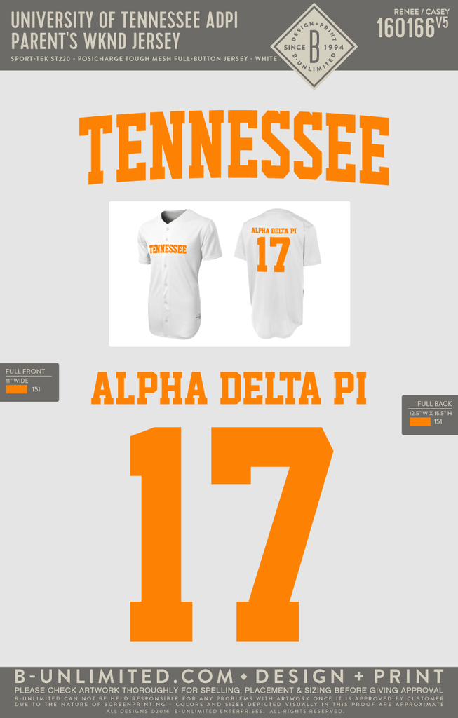 Tennessee ADPI - Parents Weekend Jersey