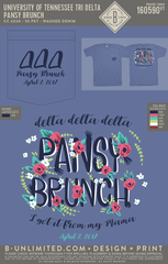 Tennessee Tri Delta - Pansy Brunch (Washed Denim)