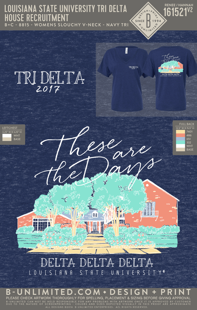 LSU Tri Delta - House Recruitment (Navy Tri Blend)