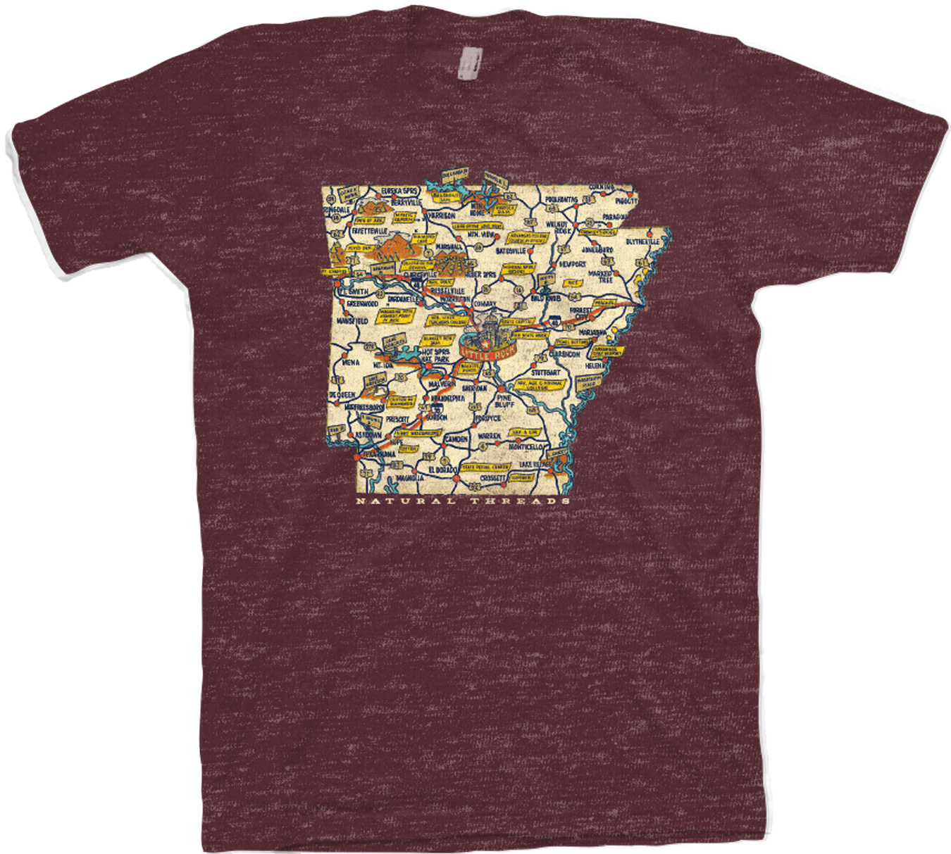 Retro State Map T-Shirt Maroon