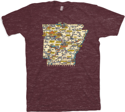 Retro State Map (Maroon)