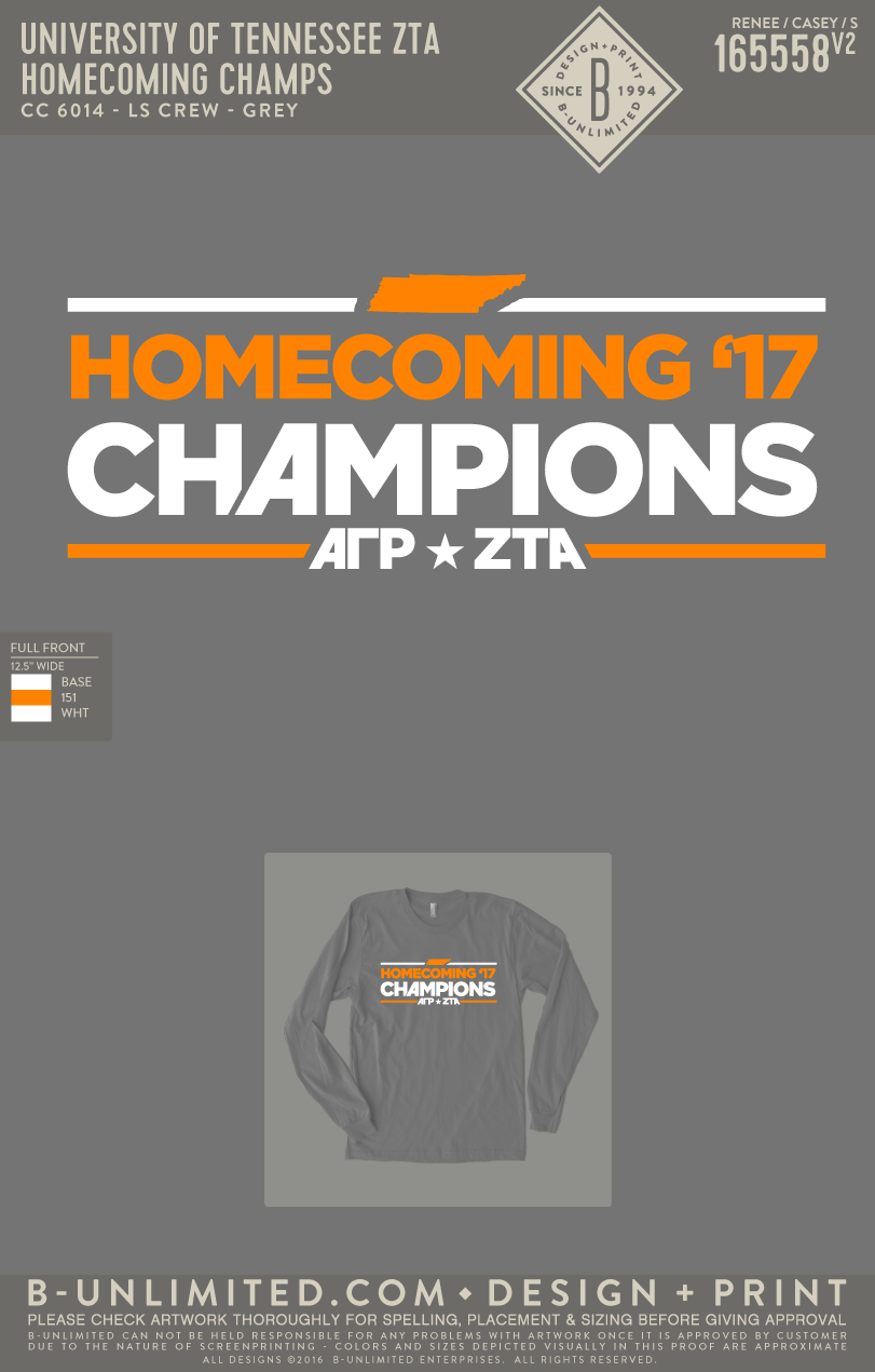Tennessee ZTA - Homecoming Champs (Grey)