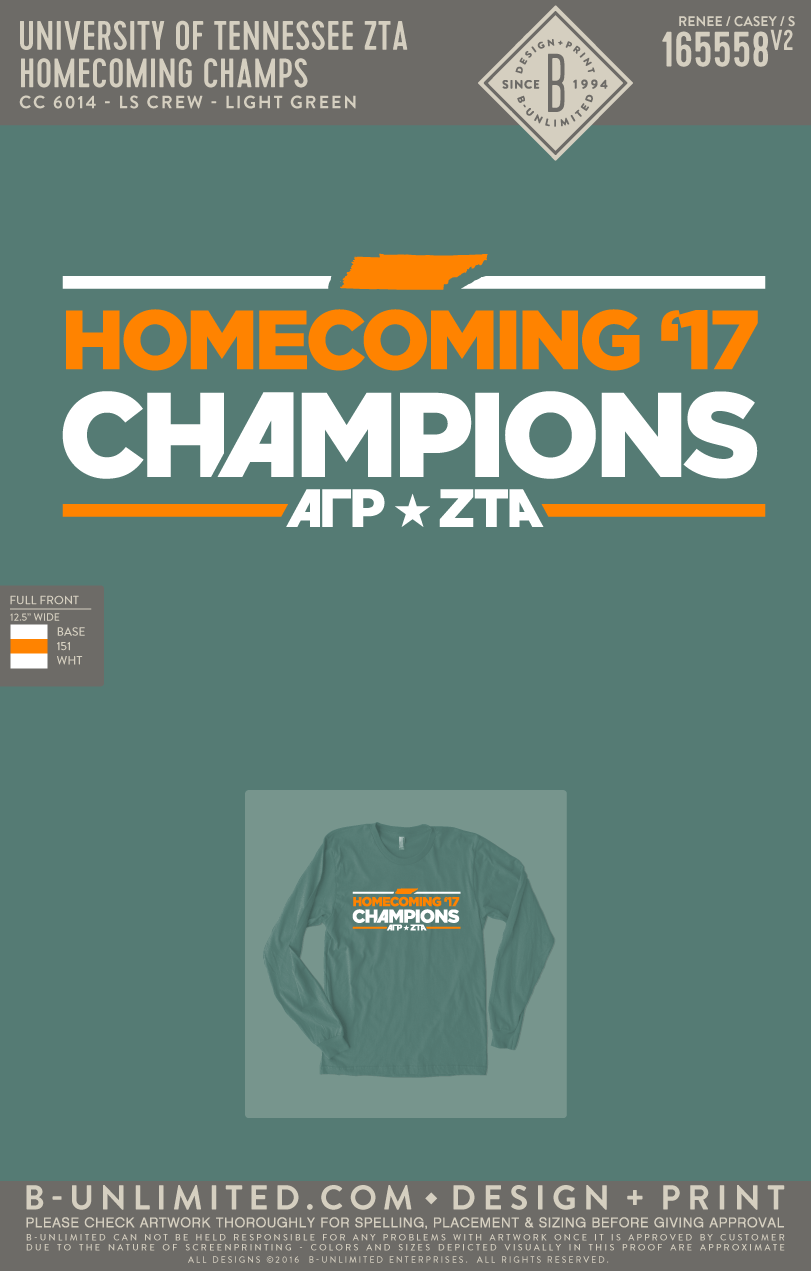 Tennessee ZTA - Homecoming Champs (Light Green)