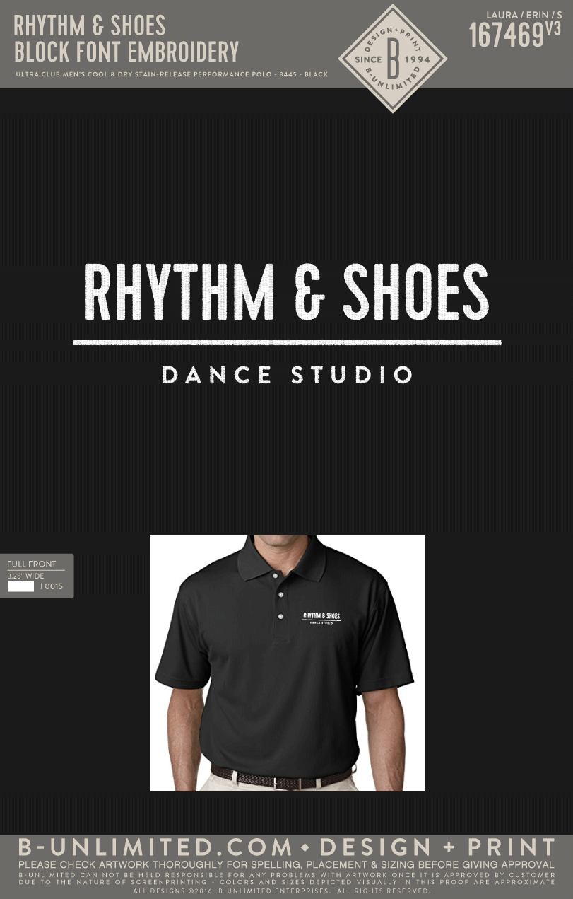 Reorder of Rhythm & Shoes - Block Font Embroidery (Men's Polo - Black)
